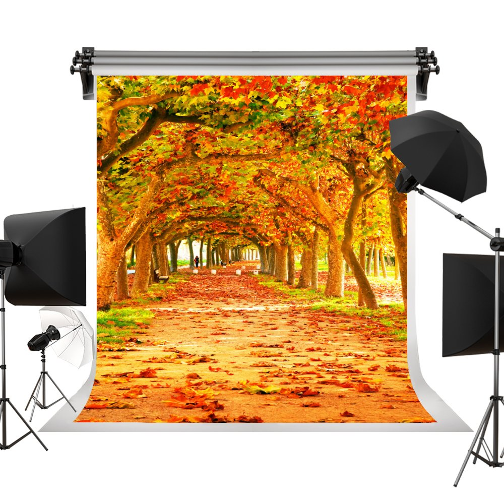 Kate 7X5ft(2.2X1.5m) Yellow Natural Scenic Photography Backdrops Autumn Backdrop Beautiful Leaves Trail Photo Studio Background