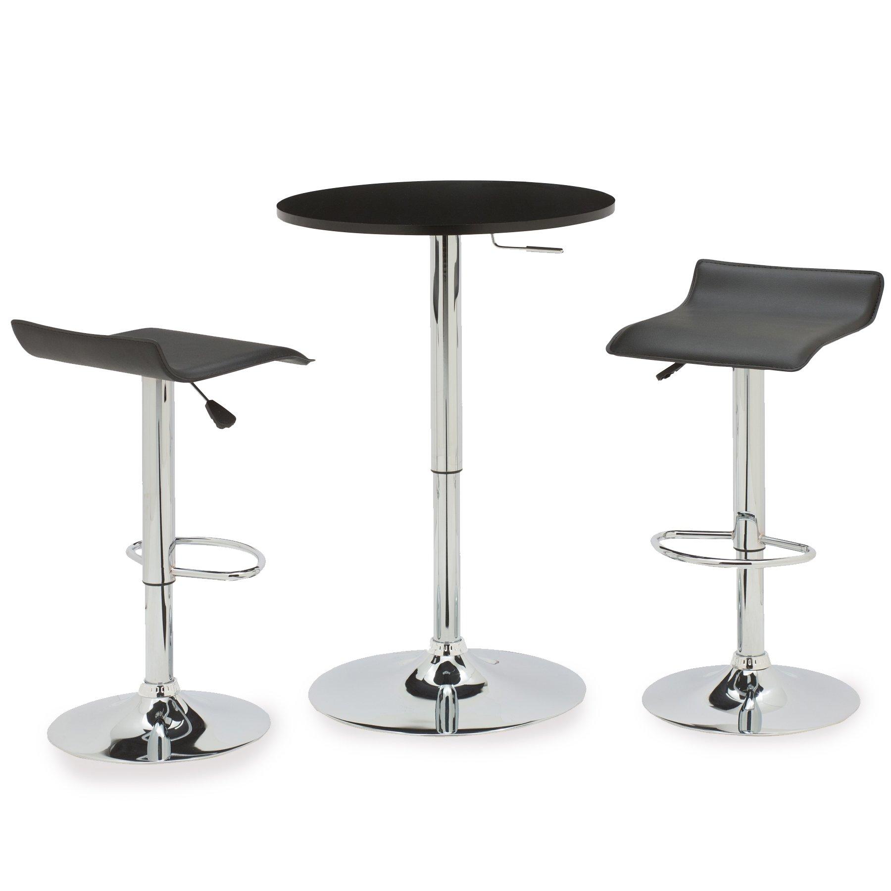 Leick 3 Piece Adjustable Height Pub Table Set, Black