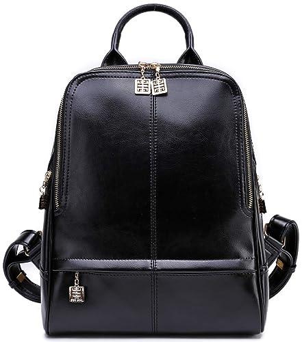 abc8ef1fac40 Amazon.com  BOYATU Leather Backpack for Women Fashion Travel Purse School  Bag Shoulder Bag (Black0)  Shoes