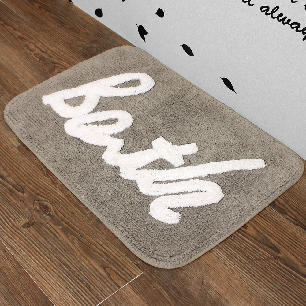100% Cotton Bath rug mat Area Rug, Kitchen, Door & Bath Rug , Decorative, Stylish Designs (GRAY)