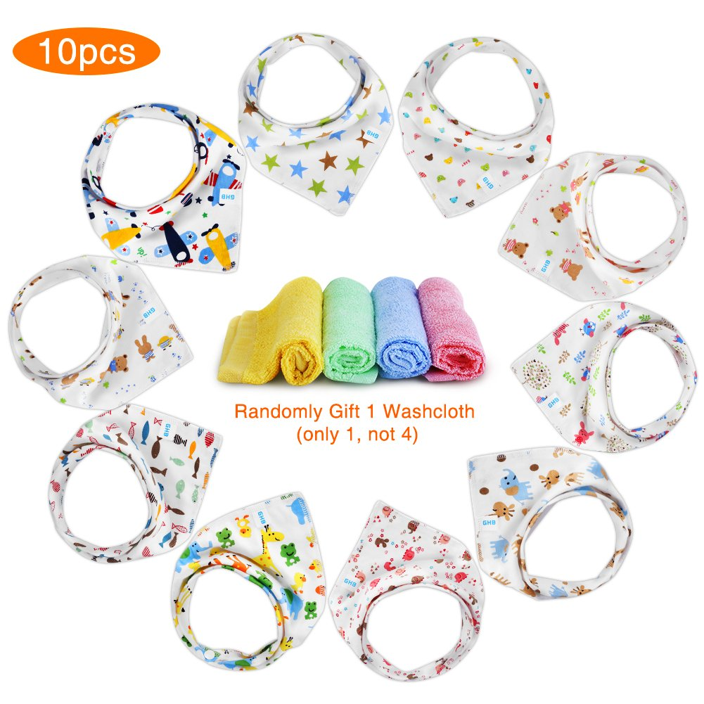 GHB 10-Pack Baby Bibs Bandana Drool Bibs for Girl and Boy Cotton Baby and Toddler Bib Smile&Satisfaction