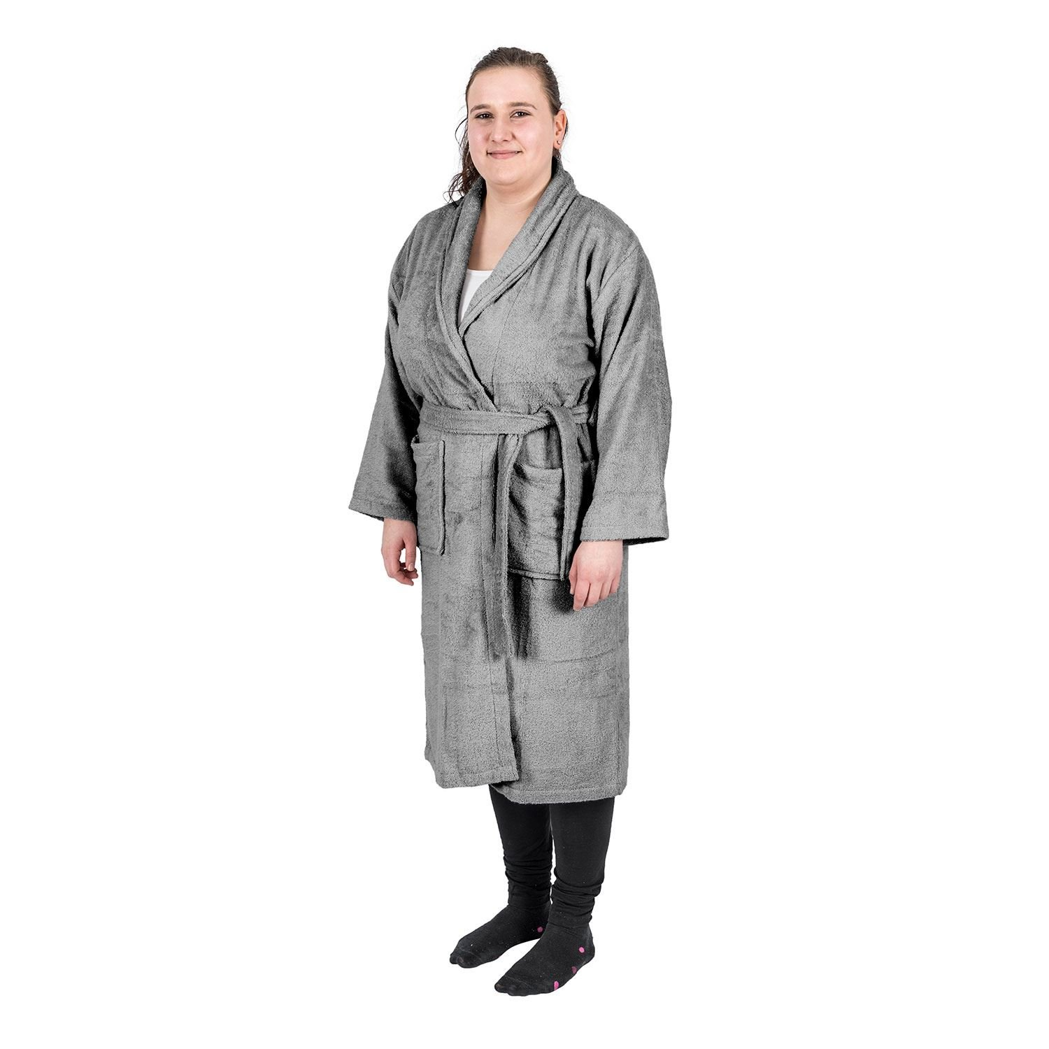 Homescapes Charcoal Grey Adults Dressing Gown with Shawl Collar 100% Egyptian  Cotton Terry Towelling Unisex Bathrobe c53a8d630