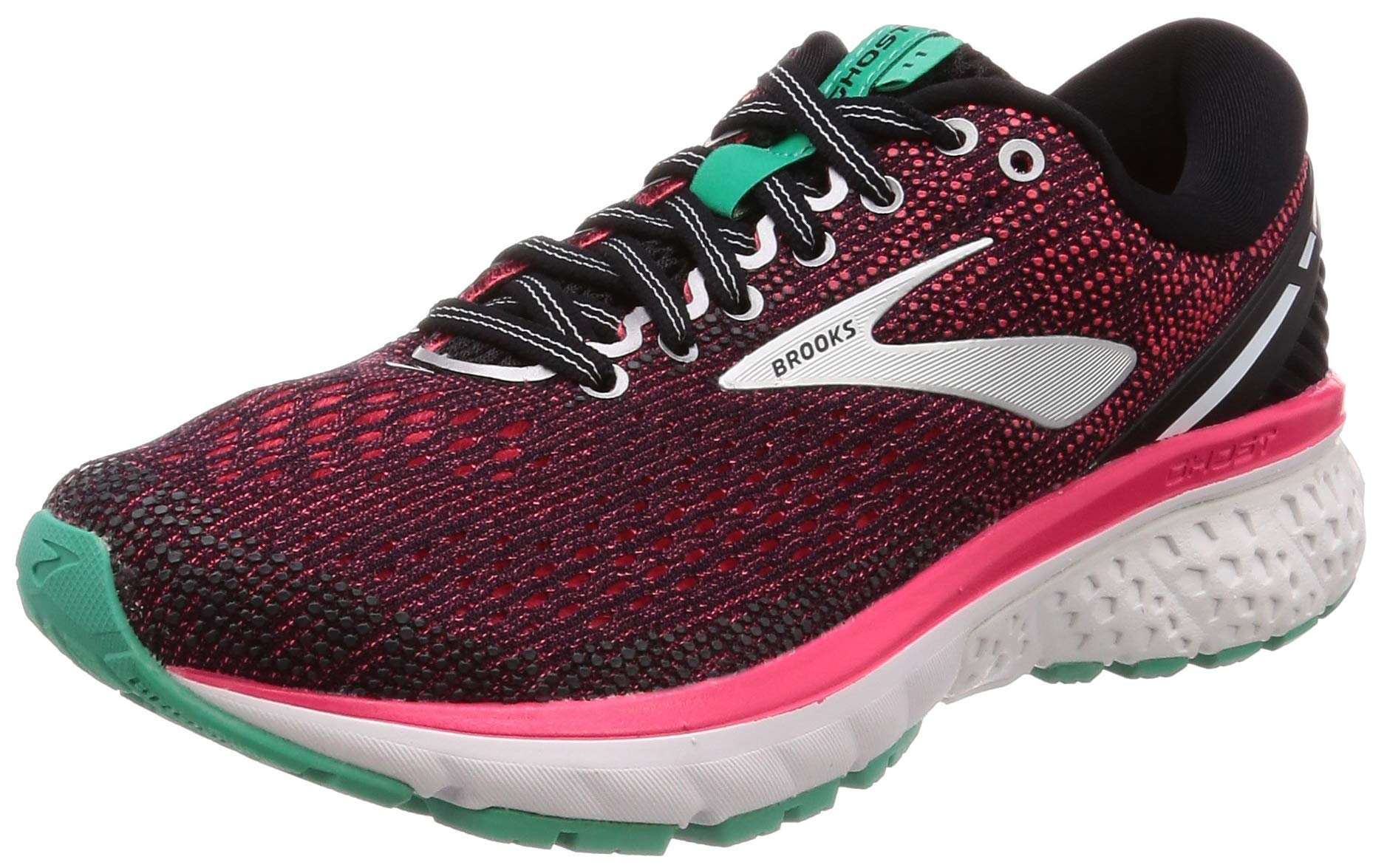 Brooks Womens Ghost 11 Running Shoe - Black/Pink/Aqua - D - 5.0 by Brooks (Image #1)