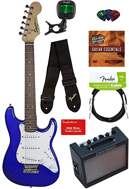 38ec3e7aa5 Squier by Fender Mini Strat Electric Guitar - Imperial Blue Bundle with  Amplifier, Instrument Cable