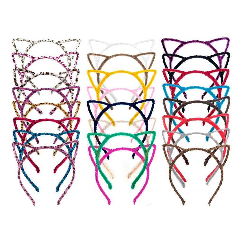 24 Pieces with 24 Colors Cat Ears Hair Headband Fluffy Hair Hoop Girls and Adult for