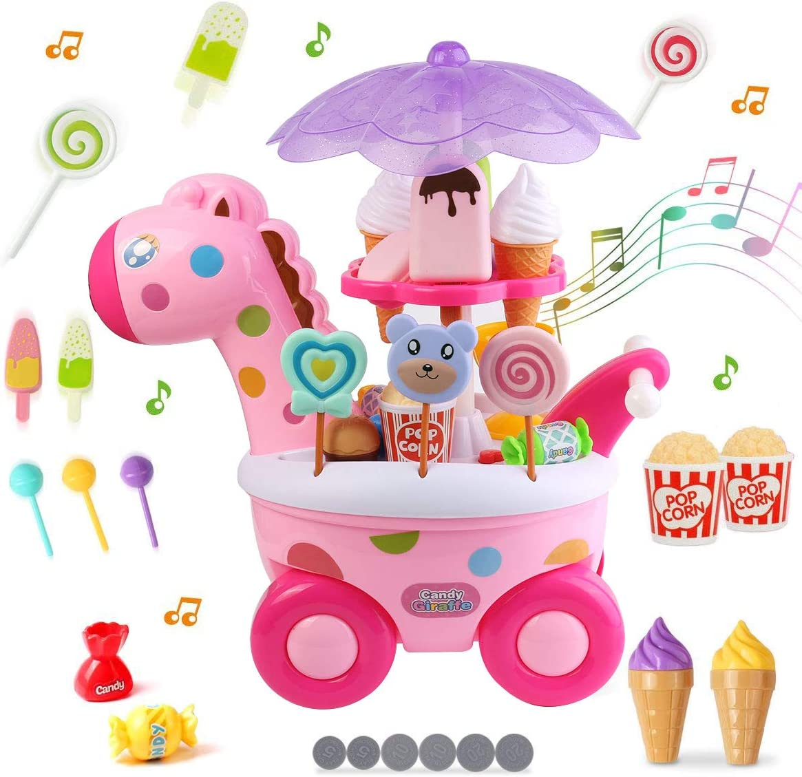 Roxie Pushable Candy Cart Ice Cream Toy Cart Play Set for Kids Pretend Play Food Educational Ice Cream Trolley Truck Great Gift for Little Girls and Boys