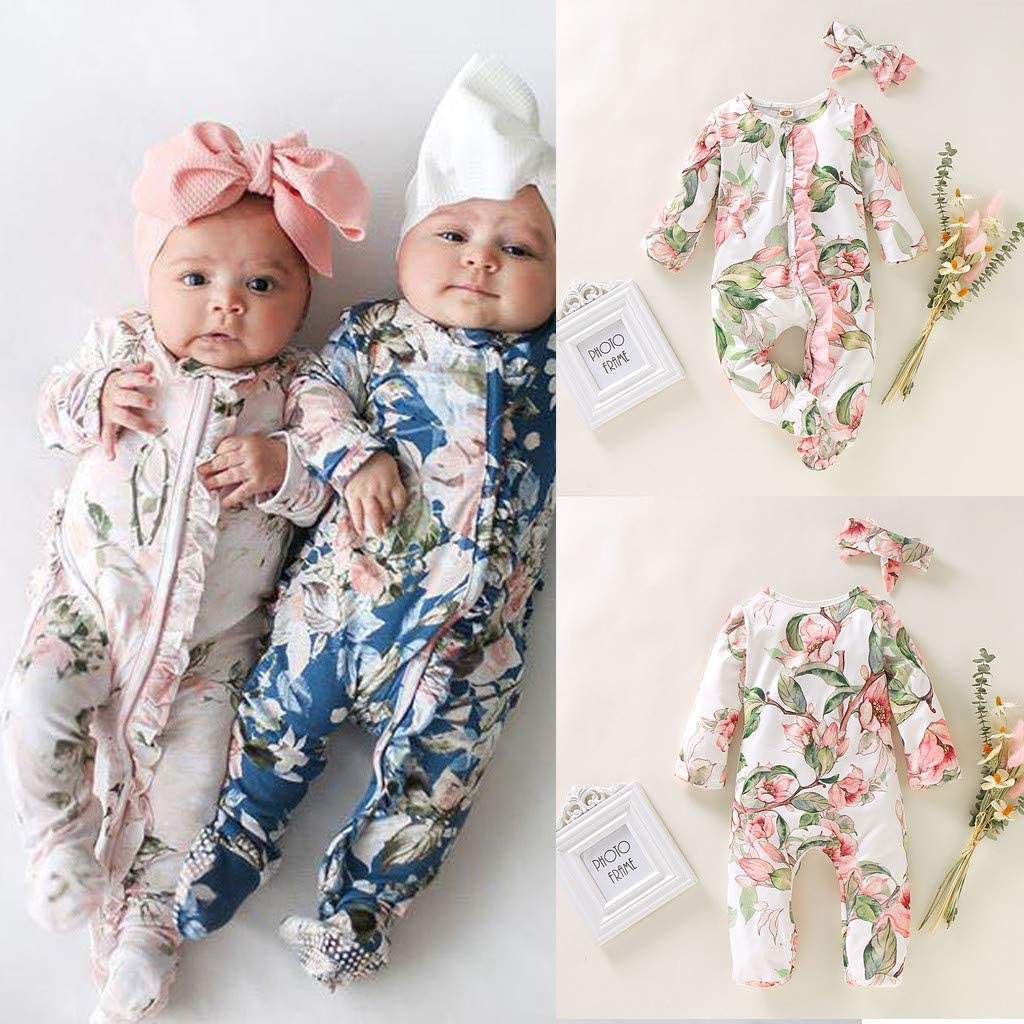 EDC Newborn Cotton Vintage Floral Ruffle Jumpsuit Toddler Bodysuit Clothing Outfits Set for 3 Month-18 Month Baby Girl Long Sleeve Romper with Headband