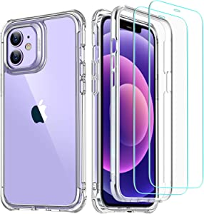ESR Military-Grade 360° Hybrid Protection Compatible with iPhone 12 Case/iPhone 12 Pro Case [10FT Drop Tested] [Heavy Duty Shockproof ] with [2 Tempered Glass Screen Protectors], 6.1