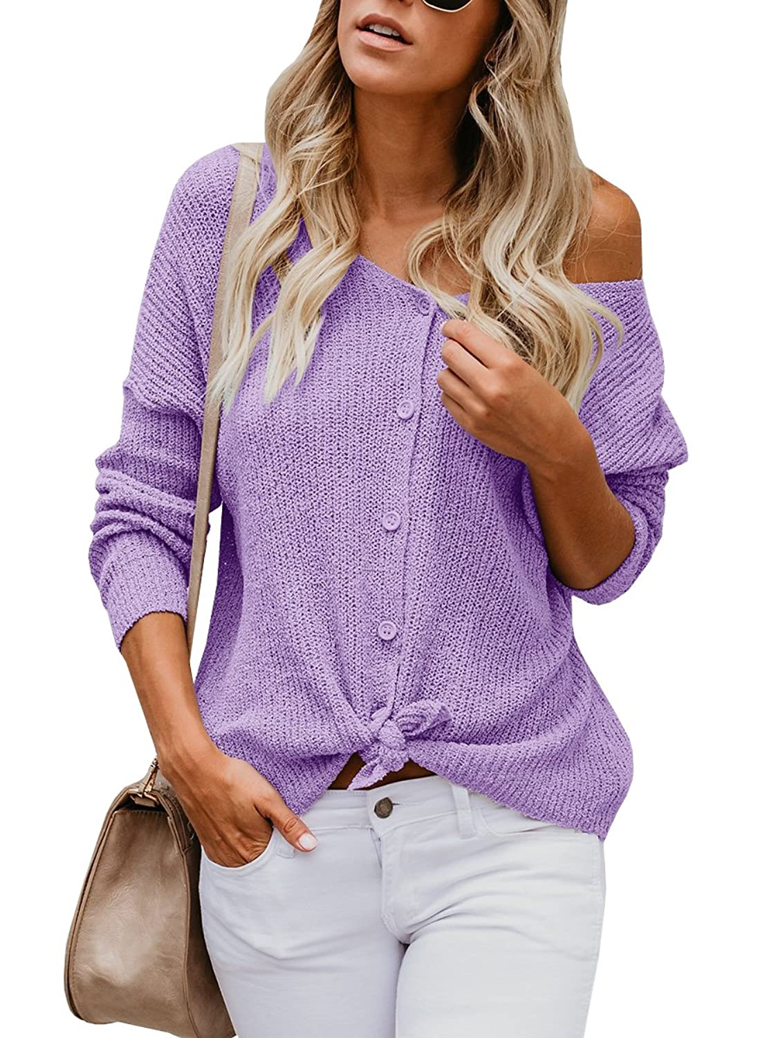 1b0d332c7d2 Womens button down sweaters, cute tie front cardigan ,womens long sleeve  knit top, fall winter lightweight cardiagn sweater. This off the shoulder  sweater ...