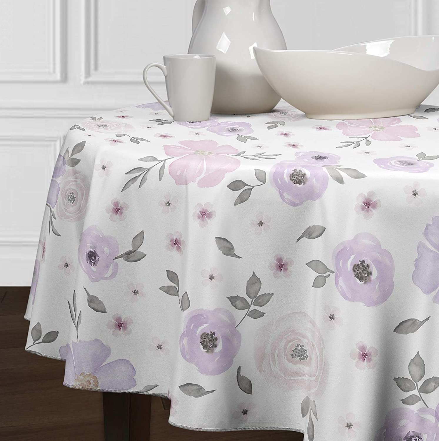 Pink A LuxeHome Lavender Purple Grey and White Shabby Chic Watercolor Rose Floral Tablecloths Dining Room Kitchen Round 72