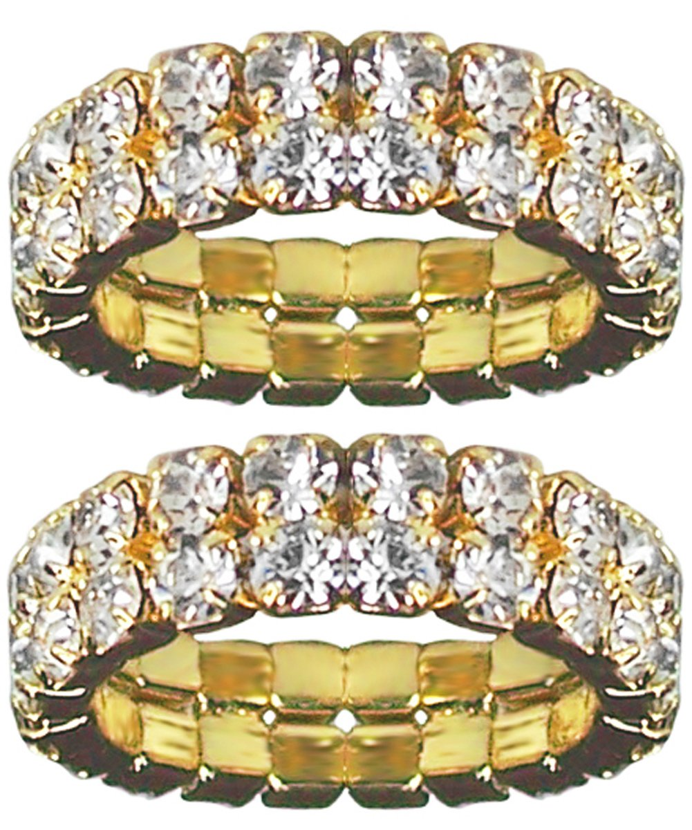 BodySparkle Body Jewelry Pair of Gold Color Double Row Rhinestone Toe Rings-Stretch Toe Ring