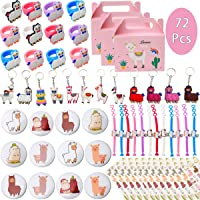 Llama Birthday Party favors Supplies Set - Llama Bracelets, Rings, Tattoos, Badges, KeyChains and Goodie bags for…