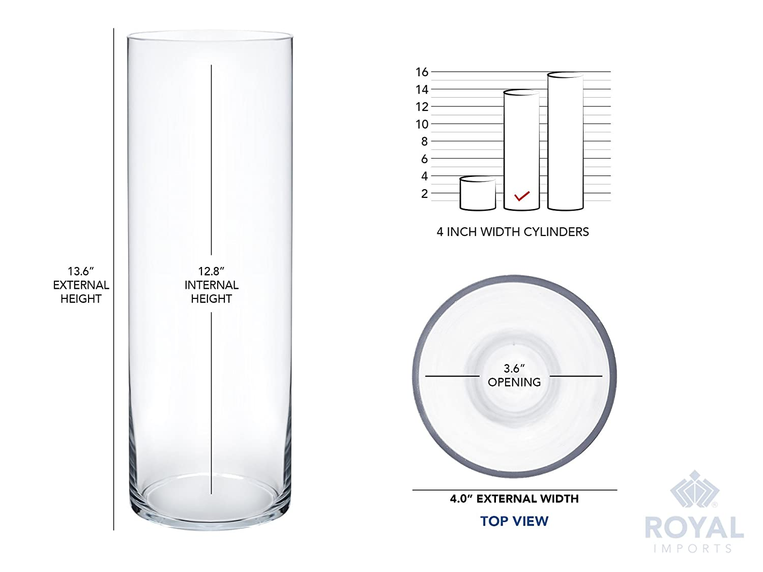 Clear 3.5 Opening 6 Tall Royal Imports Flower Glass Vase Decorative Centerpiece for Home or Wedding Cylinder Shape
