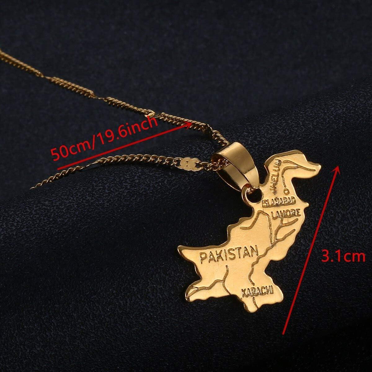 Pakistan Map Pendant Necklace Gold Color Pakistanis Charm Map Jewelry