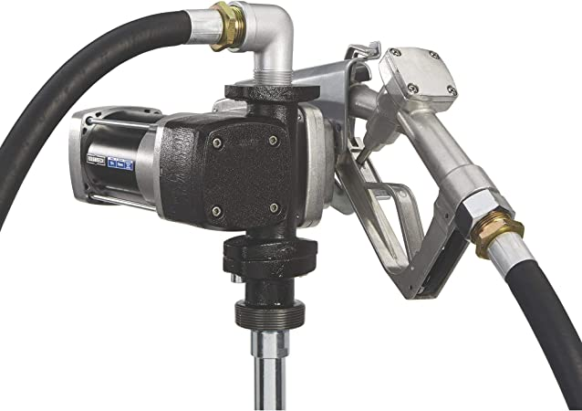 Roughneck Heavy-Duty Fuel Transfer Pump Gasoline Compatible 20 GPM Manual Nozzle 12 Volt DC