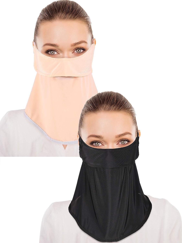 2 Pieces Unisex Face Cover Sun Protective Face Bandana Women Summer UV Protection Face Scarf