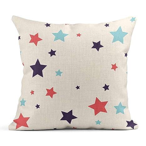 Kinhevao Cojín Azul Abstracto Colorido Patrón de Estrella ...