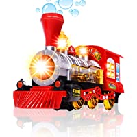 Farraige® Bubble Blowing Toy Train - Battery Powered Steam Bubbles Locomotive Engine Car- Colorful Lights & Fun Sounds - Constant Motion & Automatic Change of Direction – 3 and Up
