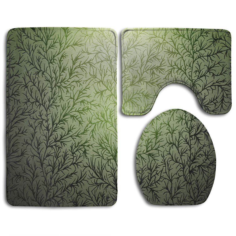 WUGOU Bathroom Rugs Branches Wood Texture Set Of 3 Soft Shaggy Traditional Non Slip Shower Mat Toilet Floor Rug And U-shaped Lid Toilet Floor