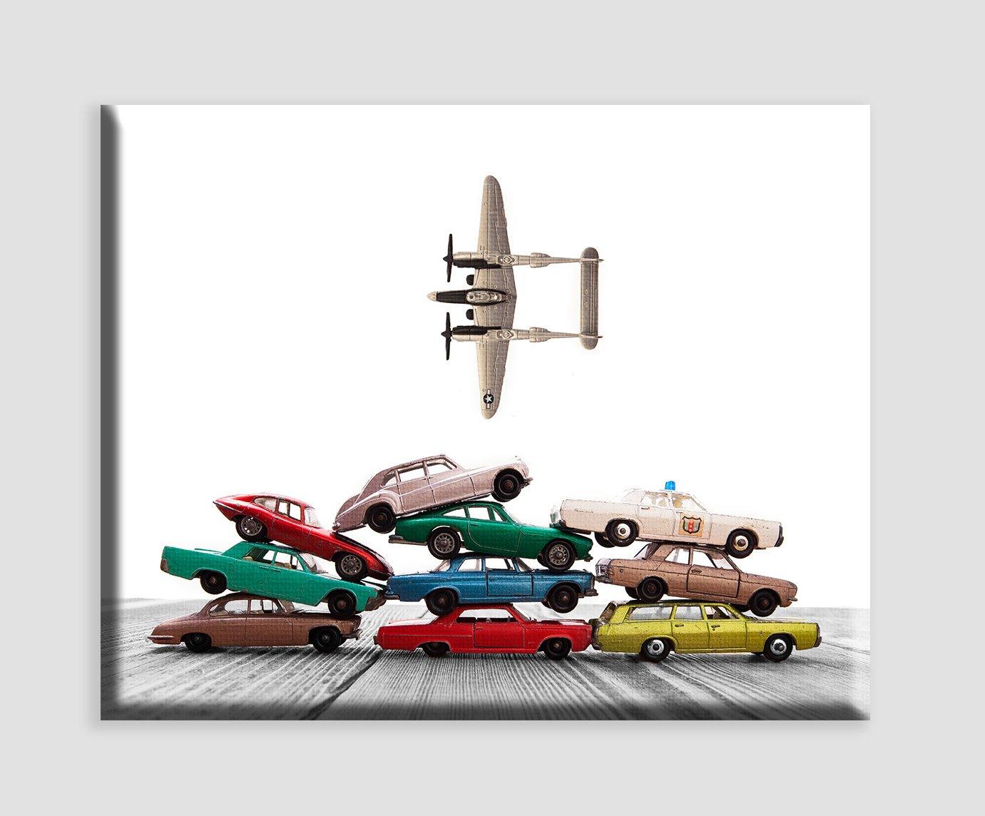''Matchbox Car Pile Airplane Fly by'' Car Photo Wall Art, Boys room Wall art, Photo Decor, Nursery decor, Kids Room Wall Art. Available as print or canvas.