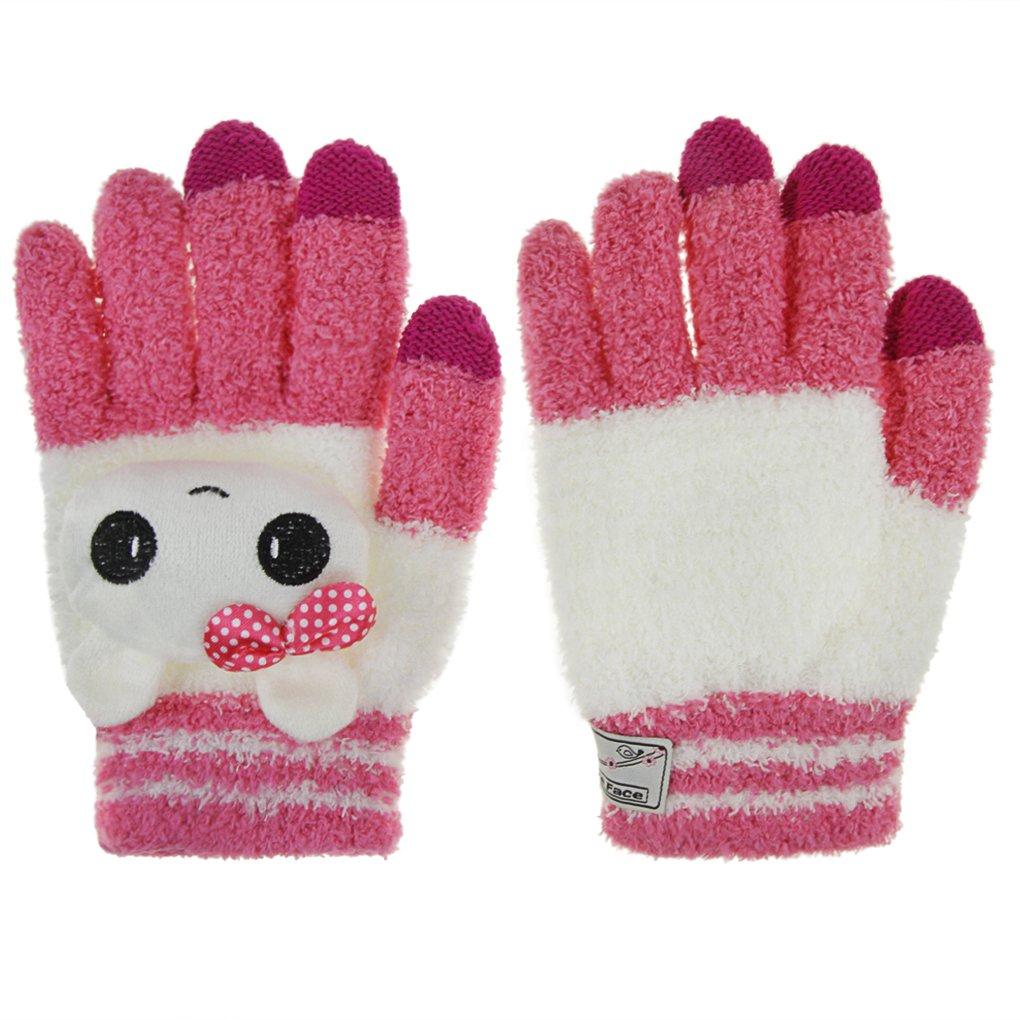 Warm Touch Children Kids Knitted Gloves Christmas Gift Full Finger Mitten