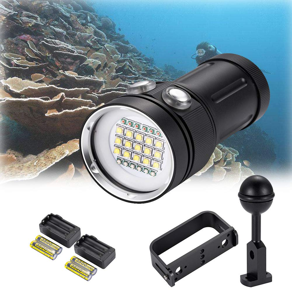 DOMINTY Diving Flashlight 25000LM 15x XM-L2+6X Red+6X UV LED Photography Video Scuba Dive Light Submarine Rechargeable Waterproof Underwater 100M Torch Handheld (Light+2 Stand+Battery+Charger)