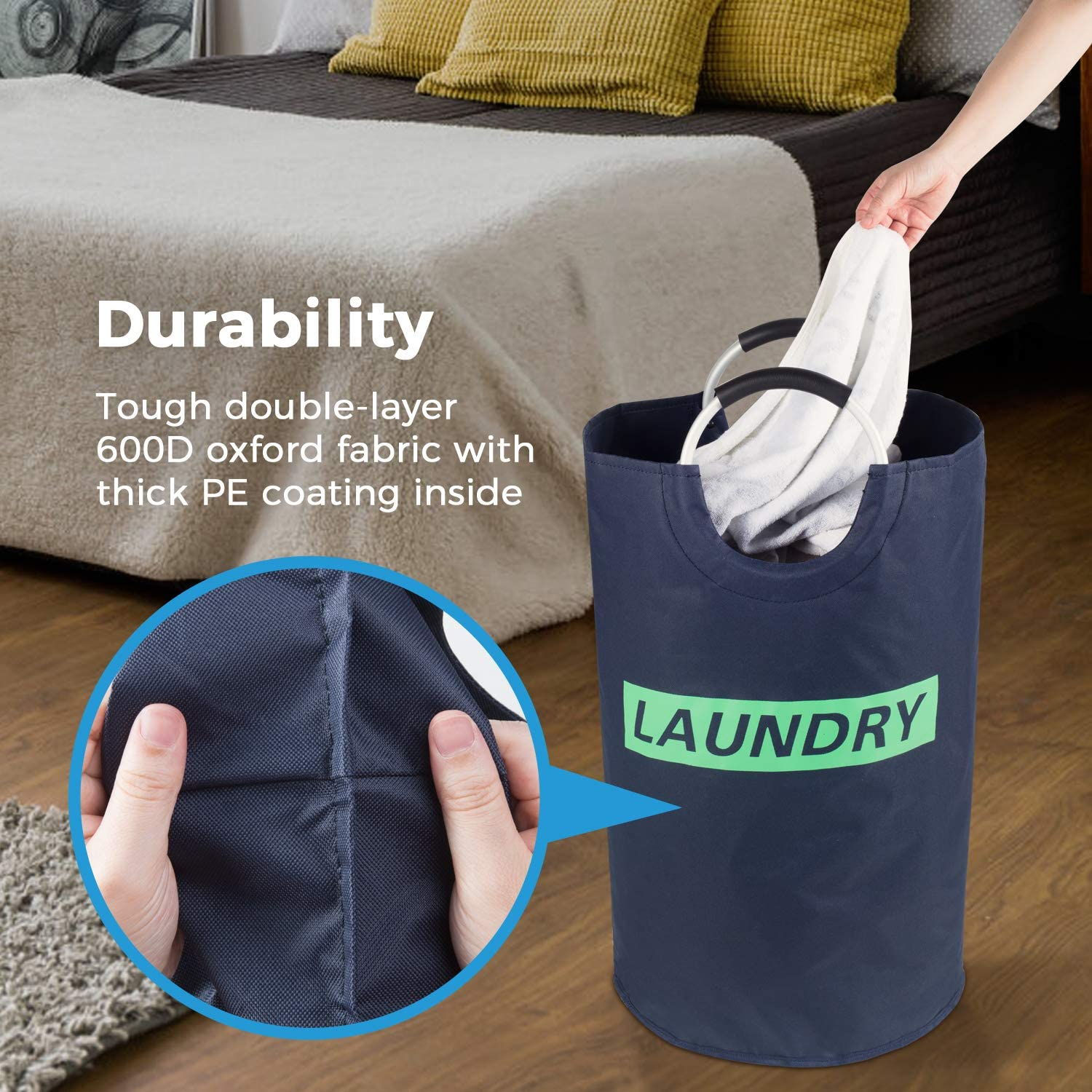 Lifewit Large Laundry Hamper Collapsible Clothes Basket Durable Oxford Fabric Portable Folding Washing Bin Black 14.9 D /× 25.2 H