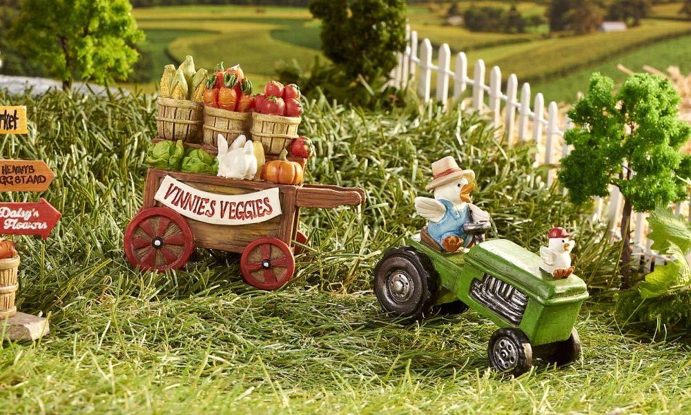 Miniature Dollhouse FAIRY GARDEN - Mini Tractor and Trailer - Accessories