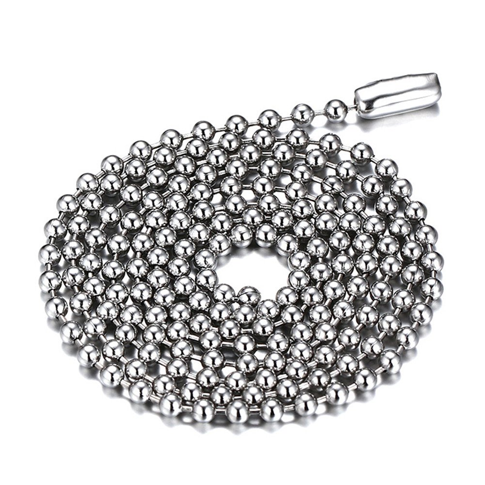 SINLEO Titanium Stainless Steel Small Beads Ball Chain Necklace for Men Women 24-38 Inches Silver Black Gold 2.4mm wide 24) DC-1002SGB-G