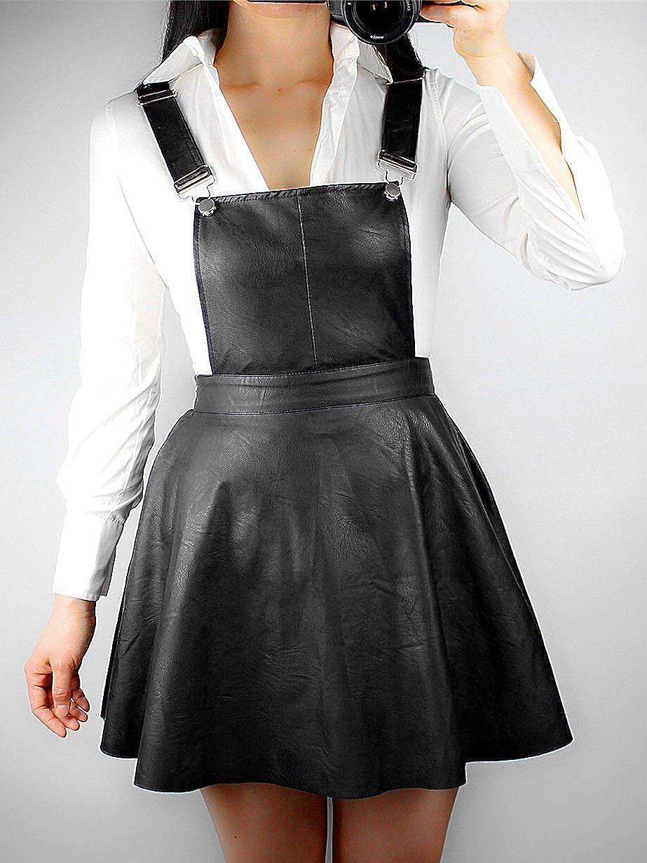 Adjustable Black Leather short  Skirt