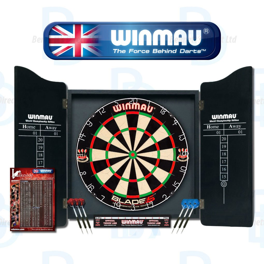 Winmau Professional Dart Set - Comes With Blade 5 Dartboard, Darts and Cabinet 5000