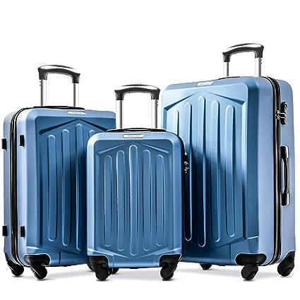 e8f4060df Merax Set of 3 Luggage Lightweight ABS Hard Shell Travel 4 Spinner Wheels  Suitcase Set Free 3-Year Warranty(3 Pieces,Dark Blue): Amazon.co.uk: Luggage