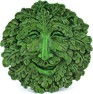 Top Collection Garden Oak Green Man Hanging Plaque, Large