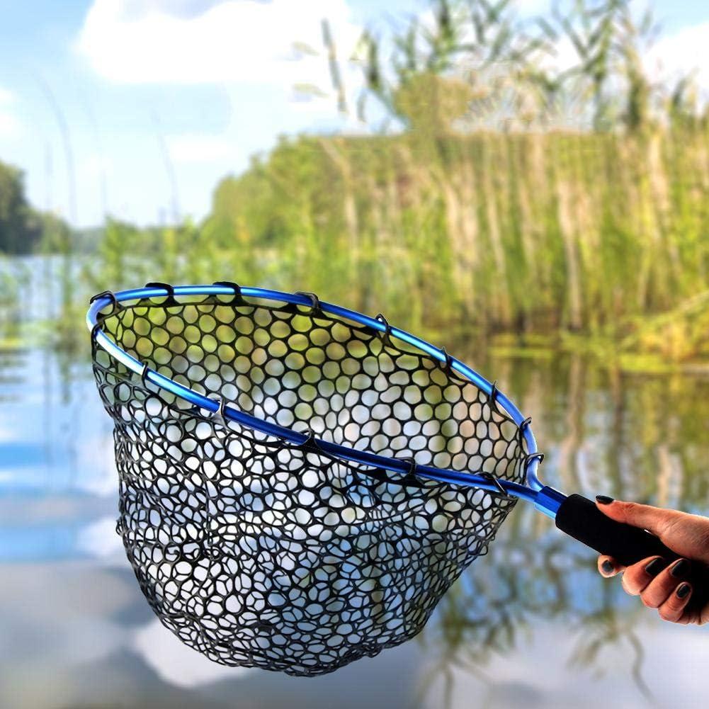 tragbares Forellenfang und freigabenetz aus weichem Gummi mit elastischer Handschlaufe und Metallbajonett. feiledi Trade Fischkescher