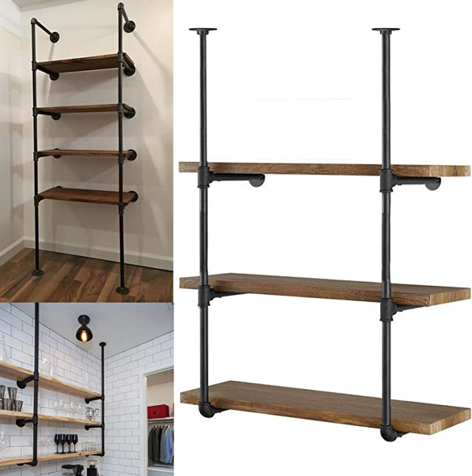"Yuanshikj 2Pc (42"" Tall 12"" deep, 3/4"") Industrial Wall Mount Iron Pipe Shelf Shelves Shelving Bracket Vintage Retro Black DIY Open Bookshelf Storage Home Kitchen (2 Pcs 3Tier Hardware only) best pantry organization systems"