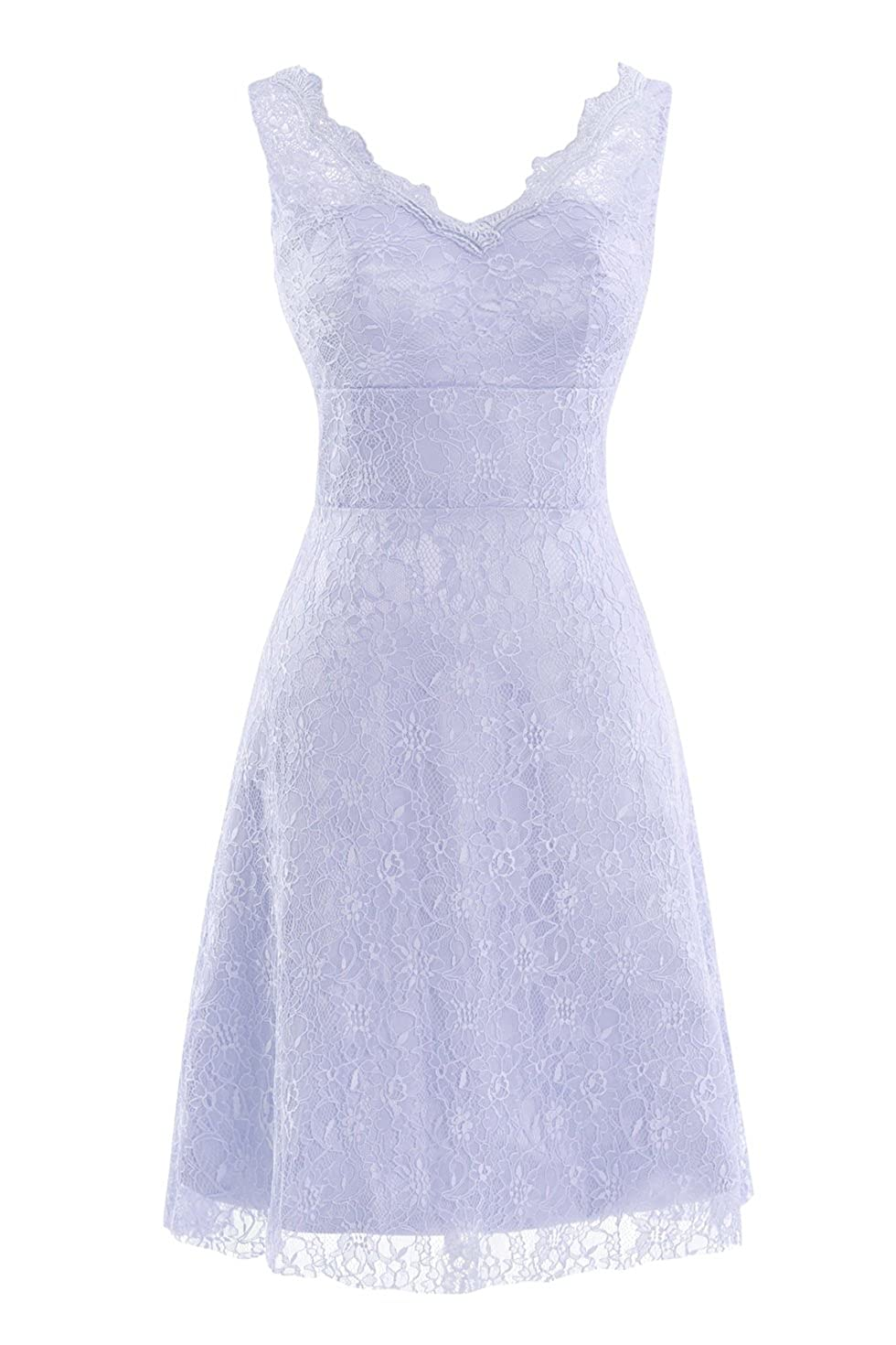 Lavender Bess Bridal Women's V Neck Lace Knee Length Prom Party Dresses