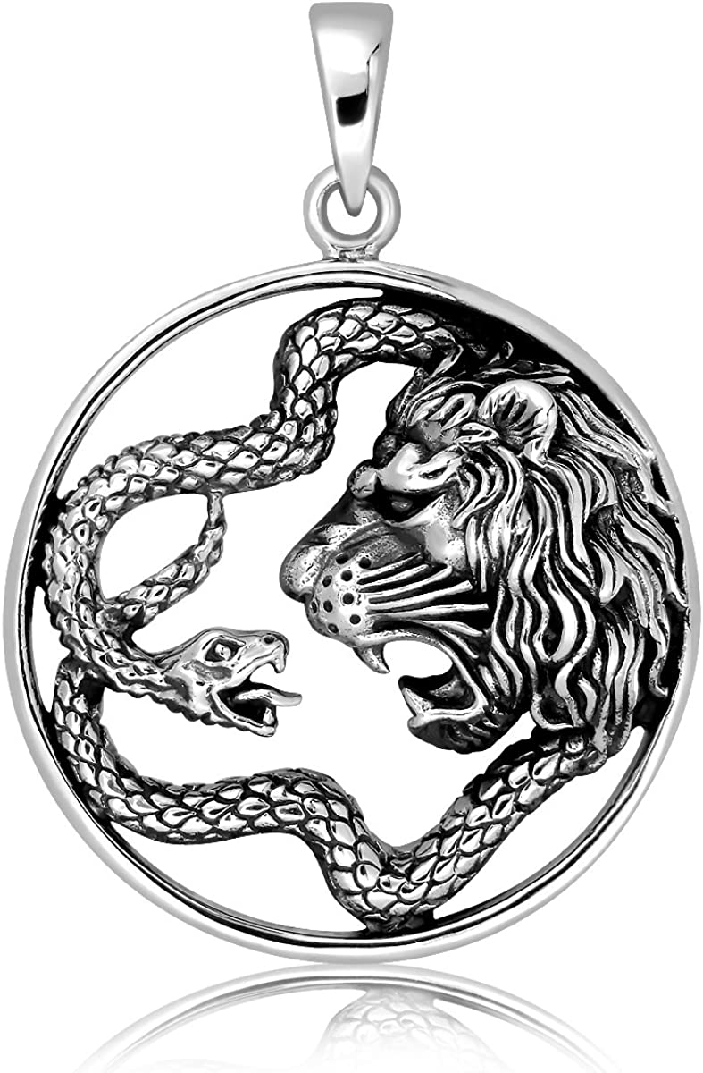 Sistakno Sterling Silver 925 Lion and Snake Totem Animal Amulet Pendant