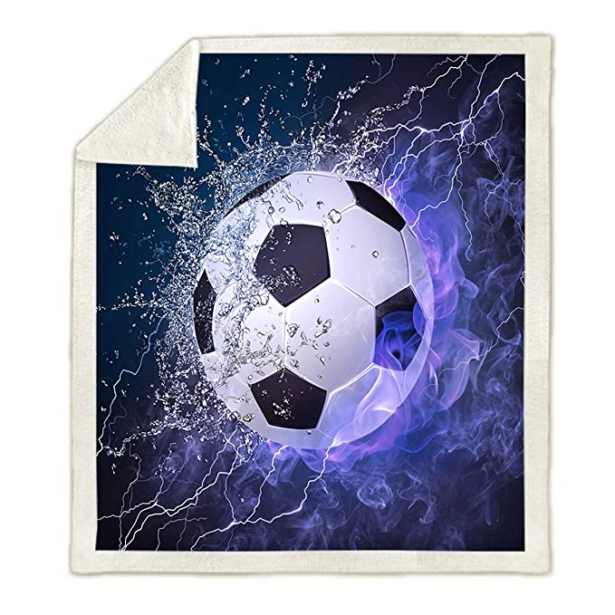 WONGS BEDDING Manta Deportiva Estampada de fútbol Soccer, Ropa de ...