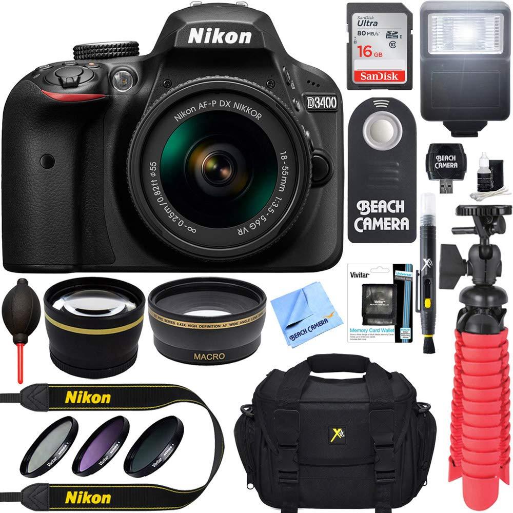 Nikon D3400 24.2MP DSLR Camera with AF-P 18-55 VR and 70-300m Lenses (1573B) - (Certified Refurbished) (18-55 VR and 70-300 2 Lens Deluxe Kit) CRTE122NKD3400K