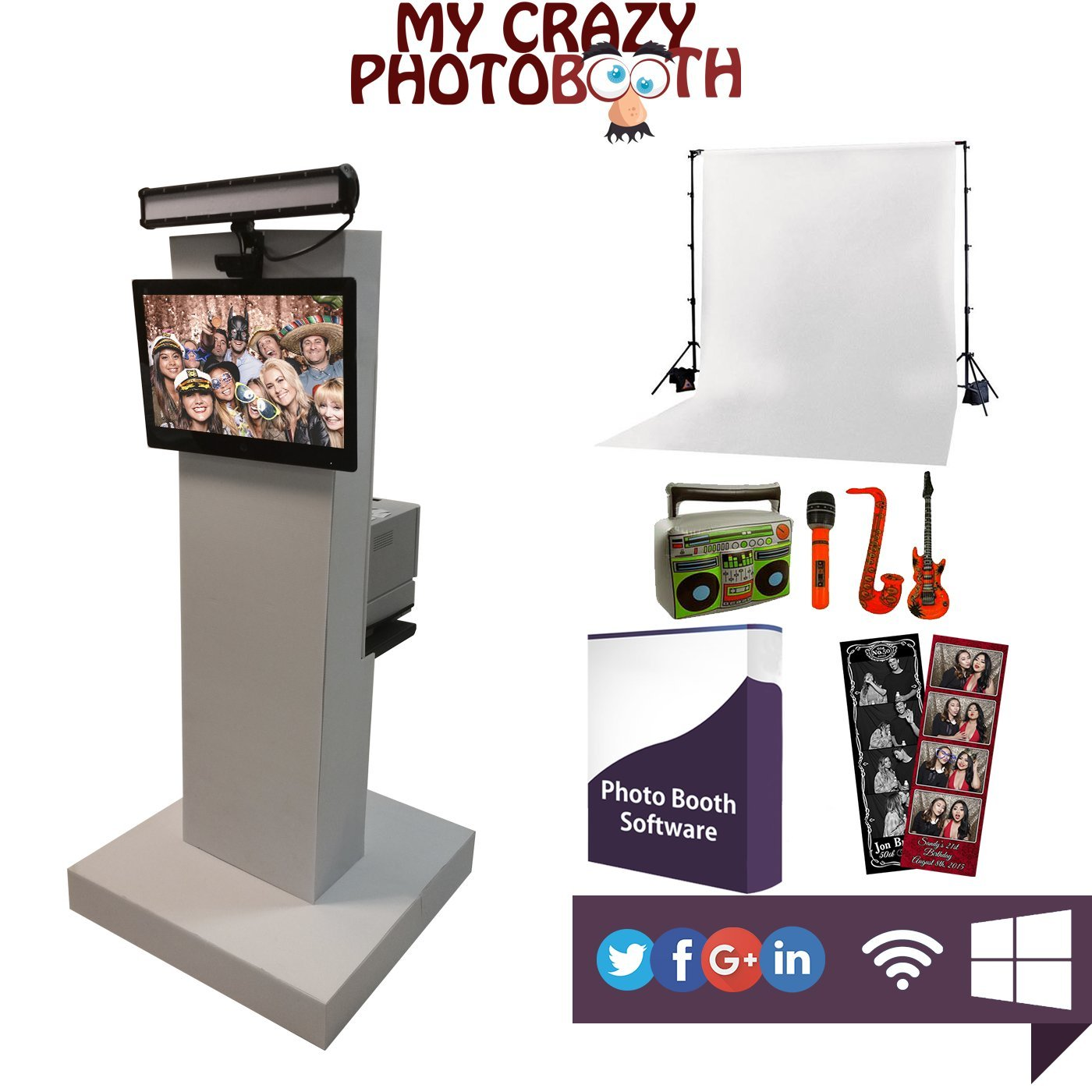 New Crazy Beautiful Complete Photo Booth for Parties Weddings by MYCRAZYPHOTOBOOTH.COM