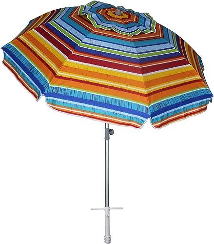 AMMSUN 7 ft Sand Anchor Beach Umbrella Adjustable Height