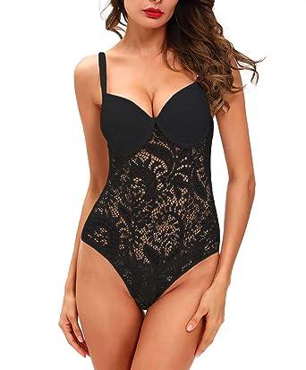 2b8c3c32099af Amazon.com  Deargirl Women s Shapewear Lace Body Bodysuit Bodyshaper ...