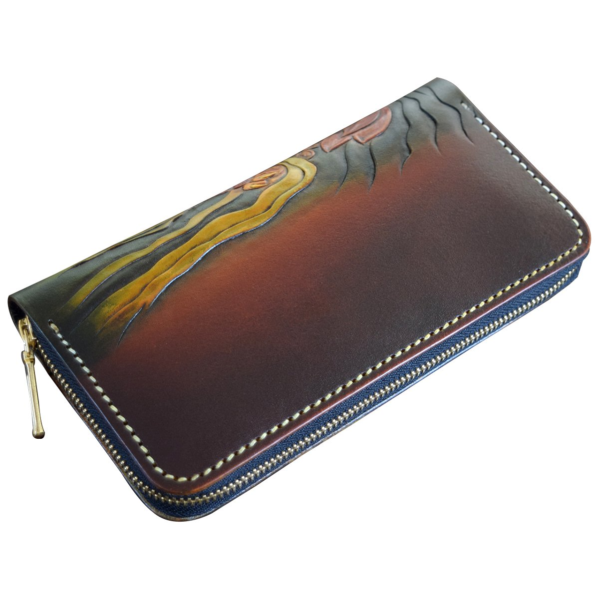 OLG.YAT Vegetable tanned leather Retro Genuine Leather Mens Wallets 20JCPD