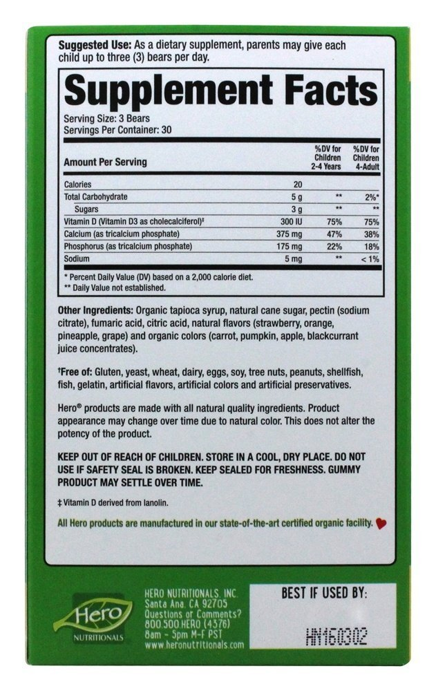 Hero Nutritional Products Yummi Bears Veg Calcium