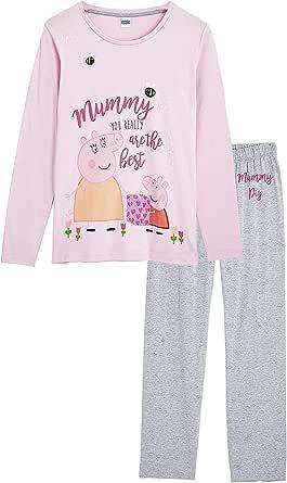 Peppa Pig Pijamas Mujer, Ropa de Mujer para Dormir, Pijama Dos Piezas Pepa Pig, Conjunto de Camiseta Manga Larga y Pantalon, Regalos Originales para Mujer Madres Tallas S - L