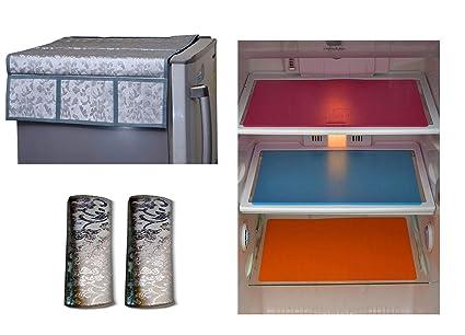 Unique Productions Combo of Plastic Refrigerator, 2 Piece Fridge Handle Cover and 6 Pieces Mat (Standard Size, Multicolour)