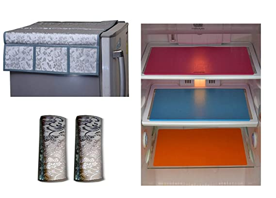 Unique Productions Combo of Refrigerator Cover(1 Piece), Fridge Handle Cover(2 Piece) & Fridge Mat(3 Pieces)(Color-Multi, Size- Standard)