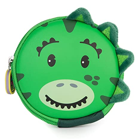 boppi Tiny Trekker Monedero Infantil con Llavero Mini Cartera para Monedas Y Llaves Carcasa Rígida con Cremallera - Dinosaurio