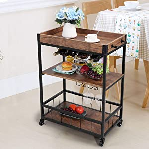JAXPETY 3-Tier Industrial Bar Mobile Serving Kitchen Cart with Casters, Removable Tray, Wood Metal Serving Trolley, Dining Room Utility Cart, Brown