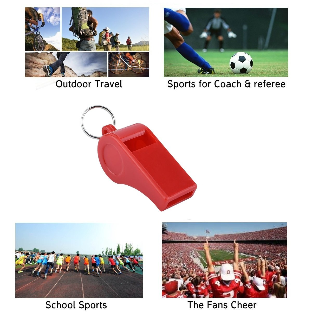 Giveet Red Whistle with Lanyards Durable Plastic Whistle for Indoor Outside Party Sports footabll basketball volleyball running